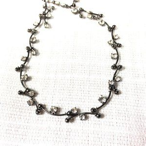 MONET dainty gunmetal and crystal collar necklace